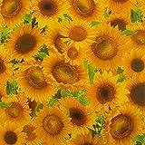 casa pura® Wachstischdecke Sunflowers | abwaschbar | ideale Größe wählbar, Meterware (2000x140cm)