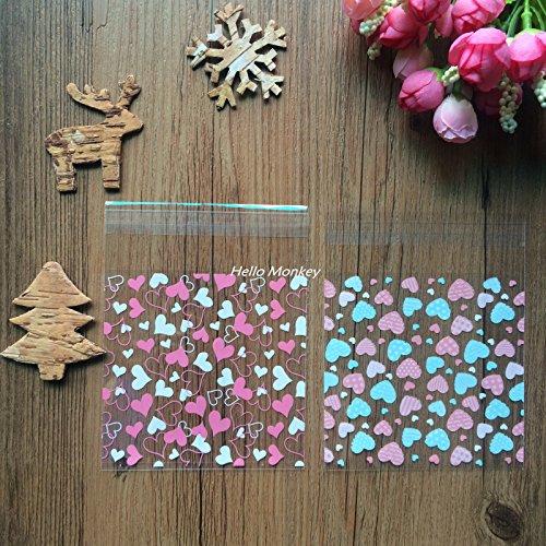 Saasiiyo 50Pcs/Lot 1010cm Pink Clear Lovely Heart Cookie Packaging Self Adhesive Plastic Pack Bags for Biscuit Cupcake Baking Package