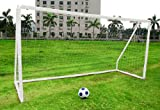 KIDS JUNIOR 10FT X 6FT WHITE ABS PLASTIC PORTABLE FOOTBALL GOAL INC NET