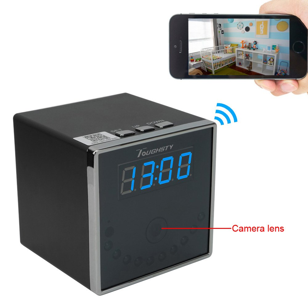 Toughsty™ 1920x1080P HD Portable P2P Wifi Hidden Camera Clock Motion Activated Video Recorder Indoor DV Camcorder Support IOS Android Remote View 140° Wide View