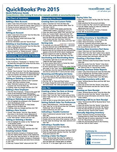 quickbooks-pro-2015-quick-reference-training-card-laminated-guide-cheat-sheet-instructions-and-tips