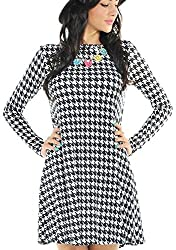 Miss Ta-daa Ladies Fashion Women Ladies Mini Skater Tartan Check Print Dog Tooth Swing Dress TOP