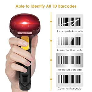 Wireless Barcode Scanner, Wellcows 2-in-1 2.4GHz Wireless & USB 2.0 Wired USB Automatic Barcode Reader Handheld Bar Code Reader USB Rechargeable Bar Code Hand Scanner for Computer POS Laptop (Color: 1)