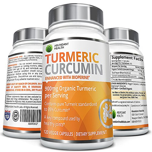 Organic Turmeric Curcmin with Bioperine® and 95% Curcuminoids - 900mg Organic Turmeric per Serving - 120 Veggie Capsules - Non-GMO, Made in the USA