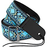 """Anwenk Guitar Strap 2"""" Jacquard Weave Hootenanny Style Electric Guitar Strap Acoustic Strap Bass Strap with Tie, Leather Ends, Metal Buckle, Top Grade Material,Best Gift for Guitar Fans (Cotton)"""
