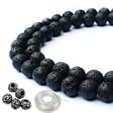 JPSOR 95Pcs 8mm Natural Round Black Lava Stone Beads, 5Pcs 8mm Metal Beads, with 1 Roll Elastic Beading Thread for Jewelry Making & 1 Non-Woven Pouch