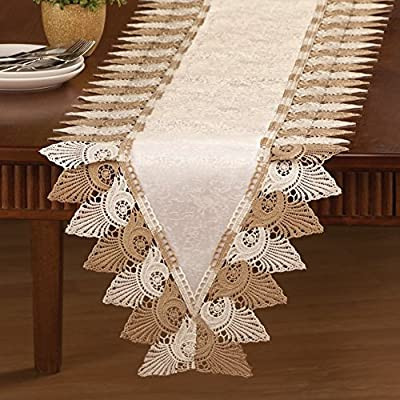Two Tone Scalloped Lace Table Linens