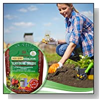 Heirloom Seeds Bulk Pack - 50 Variety Non GMO Vegetable Seed Bank - Best For Planting Sprouting and Gardening Non GMO Non Hybrid Food + PDF Planting & Storing Guide - Print or Scan to Smart Phone