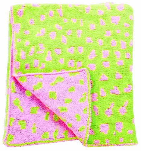 "Manual Woodworkers Izzy Plush Chenille Baby Blanket, Pink And Green Leopard Spot, 30 X 40"" (Discontinued by Manufacturer)"
