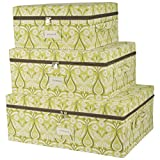 Storage Bins with Zipper Cover and Rope Handles (Set of 3) - Storage Bins with Lids - (Green)