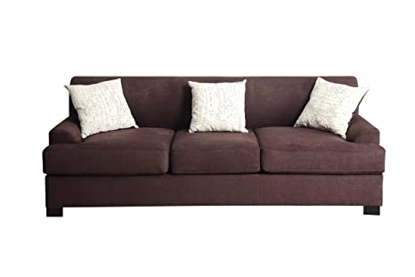 Chocolate Colored Microsuede Sofa by Poundex