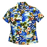 Family Matching Print Fitted Shirt - Women's Diamond Head Ocean Waves Hawaiian Aloha Poplin Cotton Cropped Shirt