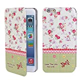 Sophia Shop iPhone 6 6G 4.7 Case, Ultra Slim Magnetic Stand Smart Cover Case, Scratchproof Dustproof Flower Pattern Floral Style Premium Pu Leather Flip Protective Skin Case Luxury Slim Brand Designer (Flower 2)