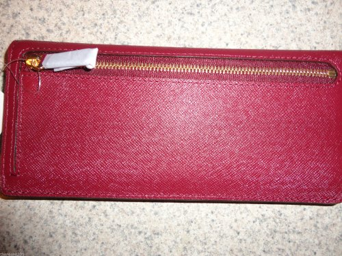 MICHAEL Michael Kors Michael Kors Saffiano Color Block Leather Flat Skinny Wallet Red Cinnabar