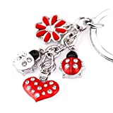 Z395 Cute Red Style Ladybug Heart Lily Charms Key Ring Keychain (Color: Red)