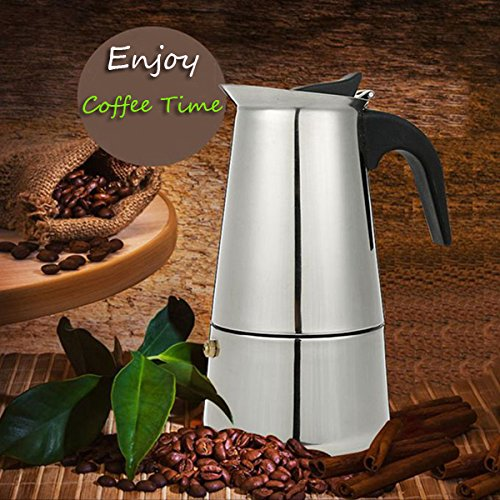 6 Cup 300ml Stainless Steel Moka Espresso Latte Percolator Stove Top Coffee Maker Pot // 6 taza de acero inoxidable de 300 ml moka espresso latte cafetera estufa fabricante de olla