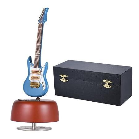 ammoon Classique Wind Up Guitare électrique Music Box Rotation Instrument de Base Musicale Mini Réplique Artware avec étui pour Anniversaire / Saint-Valentin / Fête des Mères / Fête des Pères