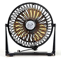 7 Inch Mini Table USB Fan Desk Fan Rotate 360° Quiet Operation (Black)
