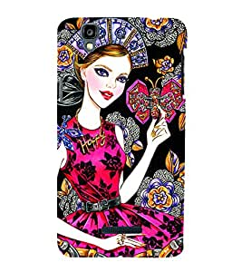 BEAUTIFUL GIRL WEARING DIAMOND JEWELLERY HOLDING BUTTERFLIES IN A VICTORIAN BACKGROUND 3D Hard Polycarbonate Designer Back Case Cover for YU Yureka::Micromax Yureka AO5510