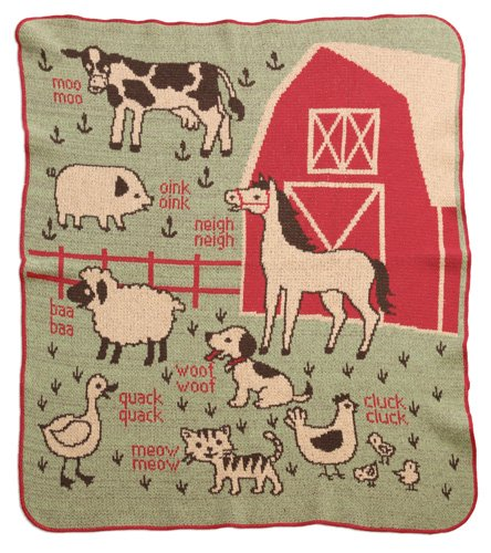 Green 3 Throw Blanket, 7A Farm