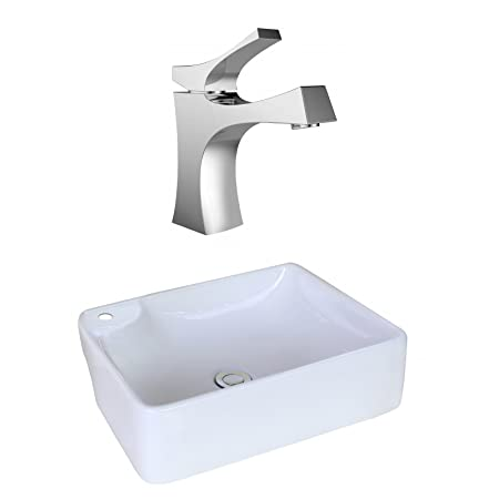 "Jade Bath JB-17996 17.32"" W x 13.39"" D Rectangle Vessel Set with Single Hole CUPC Faucet, White"
