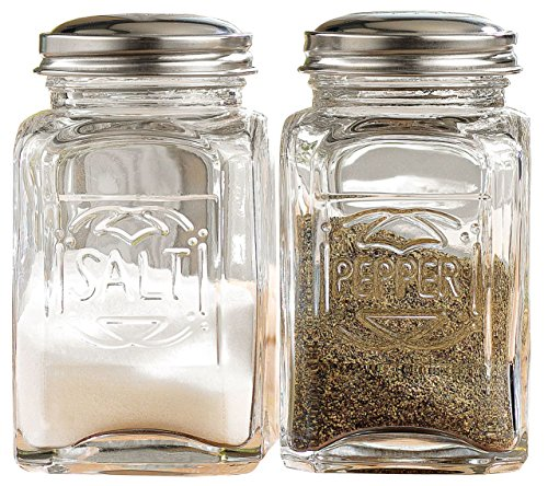 Set of 2 Clear Glass Salt and Pepper Shakers 5-oz Spices Canisters with Screw-on Stainless Steel Lids