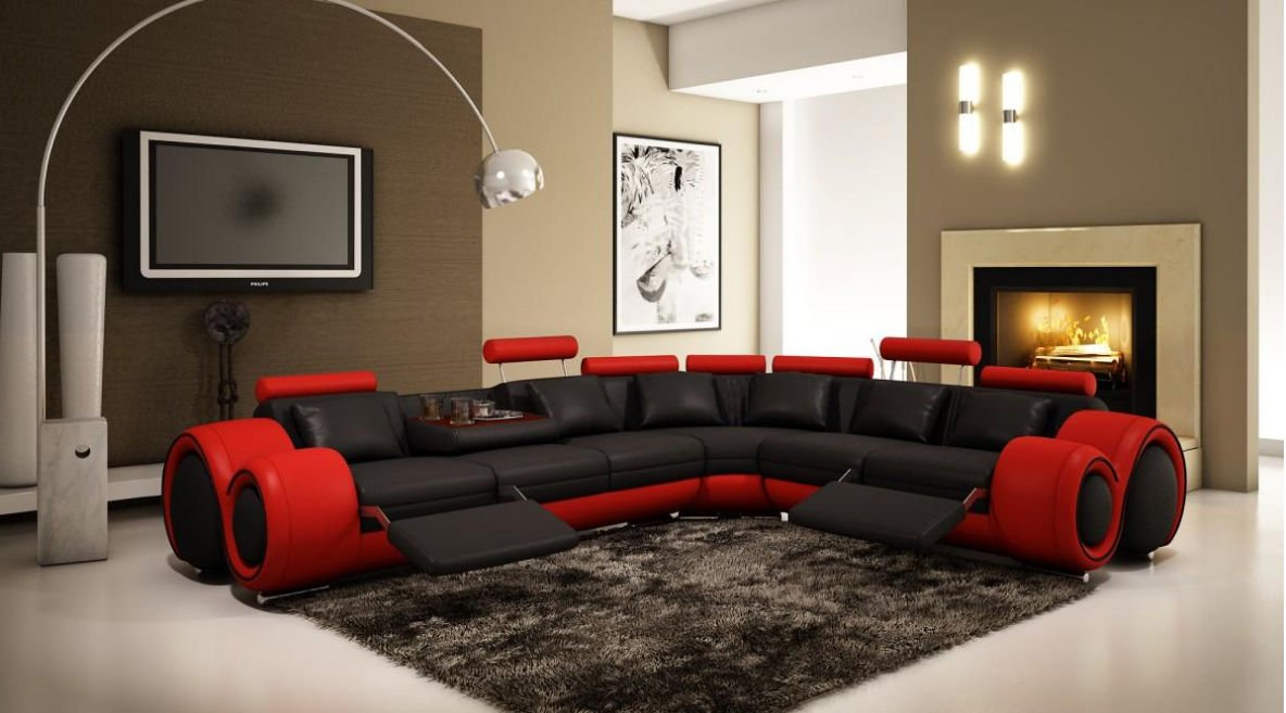 VIG Furniture 4087 Red and Black Leather Sectional Sofa w/recliners