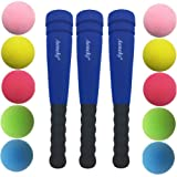 Aoneky Three Min Foam Bats with Multi Balls for Toddler - Indoor Soft Super Safe TBall Set Toys for Kids Age 1-2 Years Old (Blue)