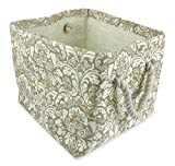 """DII Home Essentials Woven Paper, Collapsible, Convenient Storage Bin For Office, Bedroom, Closet, Toys, Laundry - Large (17"""" Long x 12"""" Wide x 12.5"""" High) in Taupe Damask Print"""