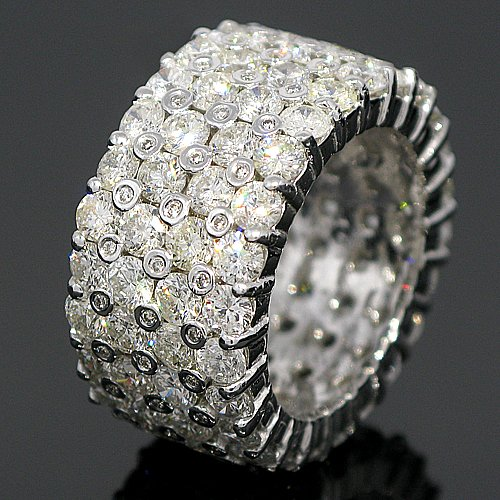 14K White Gold Mens Diamond Eternity Band 11.25