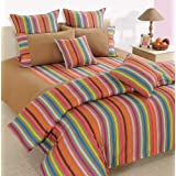 Swayam Linea Stripes Cotton Double Bedsheet With 2 Pillow Covers - Multi Beige Stripes