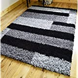 EXTRA LARGE SMALL MEDIUM BLACK SILVER GREY BLOCKS NEW MODERN SOFT THICK SHAGGY NON SHED PILE BEDROOM RUG HALL...