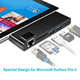 Surface pro 4 USB Hub Dock with 4K HDMI Converter Adapter, Rocketek RJ45 Gigabit Ethernet LAN Combo Docking Station, Dual USB 3.0 Ports, Build-in TF & SD Card Reader for Microsoft Surface Pro 2015 (Color: For surface Pro 4 2015)