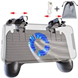 Mobile Controller with Power Bank Cooling Fan for Fortnite PUBG, Mobile Controller L1R1 Game Trigger Joystick Gamepad Grip for 4.5-6.5