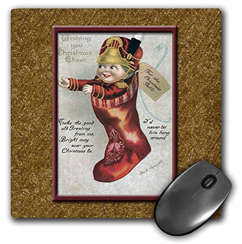 BLN Vintage Christmas Designs - Cute Doll in a Red Soldier Outfit in a Christmas Stocking on a Gold Background - MousePad (Soldiers Outfit)