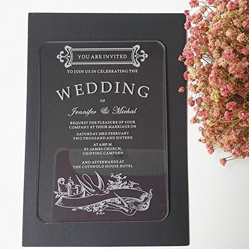 100pcs per lot swallow 5*7inch rectangle shape laser engraving letters clear acrylic wedding invitation card