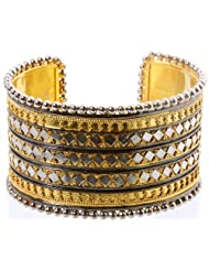 Exotic India Sterling Gold Plated Cuff Bangle - Sterling Silver