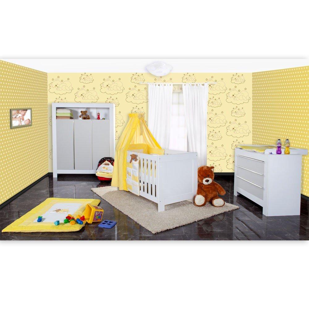 Babyzimmer Felix in weiss/grau mit 3 türigem Kl 19 tlg. + Sleeping Bear, gelb