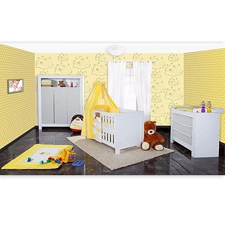Babyzimmer Felix in weis/grau 21 tlg. mit 3 turigem Kl + Sleeping Bear in gelb