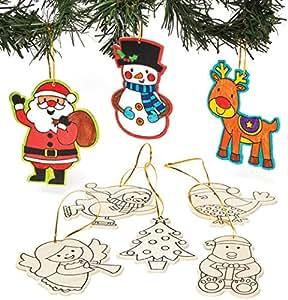 Decorazioni natalizie in legno da colorare per bambini da for Decorazioni natalizie in legno da appendere