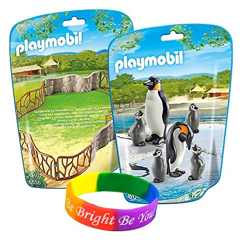 Playmobil 2 in 1 Zoo Keeper Kit with Penguin Family and Enclosure Building Set with FREE Dimple Bracelet!