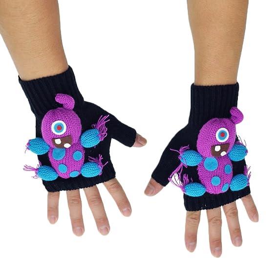 Angelina 3D Monster Winter Knit Fingerless Gloves