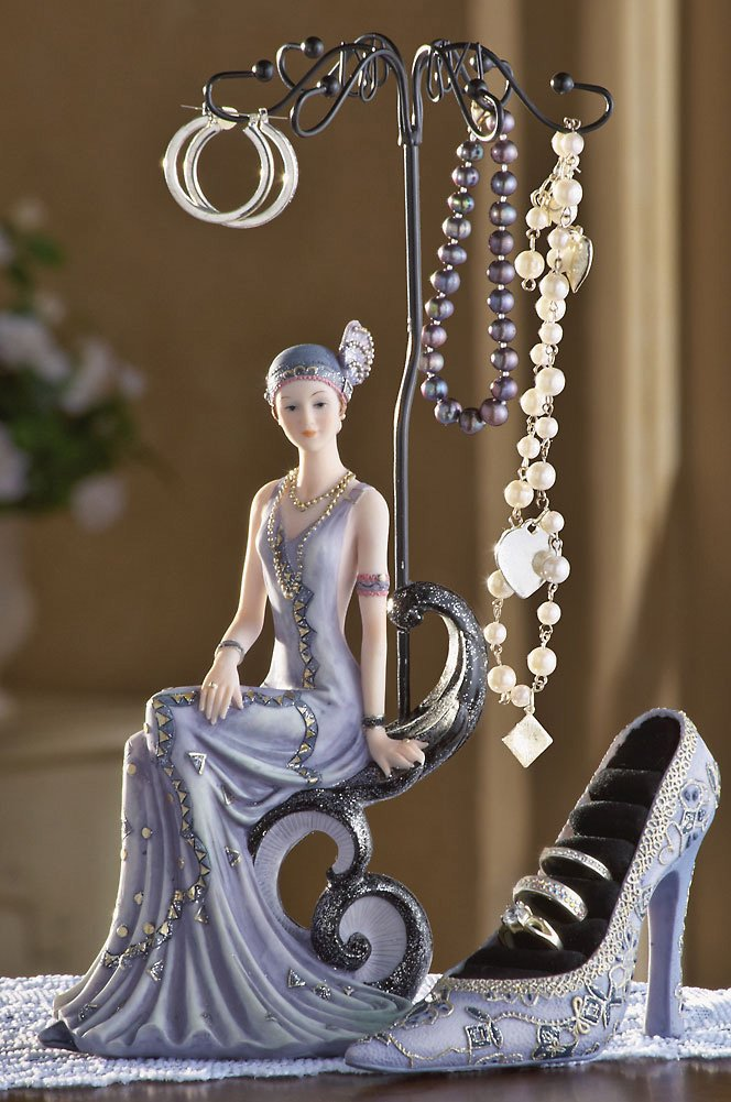 Victorian Lady Jewelry Holder And Rings Holder Shoe Set
