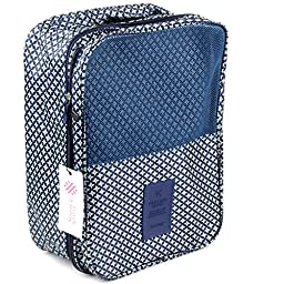 Simmer Stone Portable Waterproof Travel Shoe Tote Bag/case/organizer,hold 3 Pairs of Shoes,perfect for Travel/ Business Trip/ourdoor Sport(give a Random Color Coasters) (Blue Star)