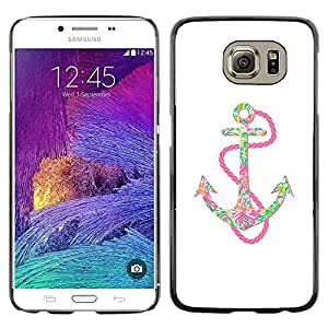 Omega Covers - Snap on Hard Back Case Cover Shell FOR Samsung Galaxy S6 - Anchor Pink Chain Colorful Positive Art