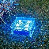 Large Blue LED Solar Powered Garden Glass Path Light by Lights4fun