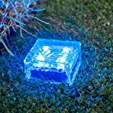 Large Blue LED Solar Powered Garden Glass Path Light by Lights4funby Lights4fun