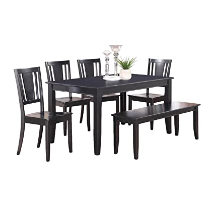East West Furniture DULE7-BLK-W 7-Piece Dining Table Set