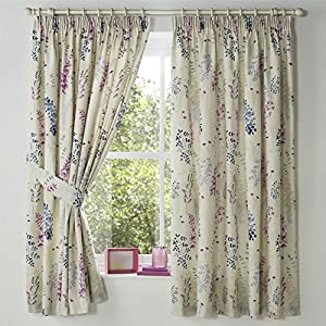 "Watercolour-style Leaves Blue Lined 66"" X 72"" - 168cm X 183cm Pencil Pleat Curtains by Curtains"