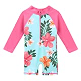 HUANQIUE Baby/Toddler Swimsuit Long Sleeve One-Piece Swimwear Rashguard Aqua 6-12 Months (Color: Aqua Flower, Tamaño: 6-12 Months)